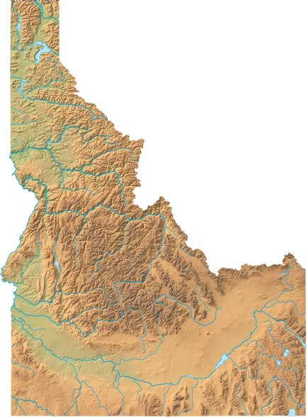 Idaho relief map